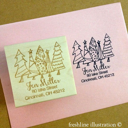 christmas stamps return address stamp wedding - Freshline Illustration