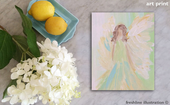 abstract wall art angel art print - Freshline Illustration