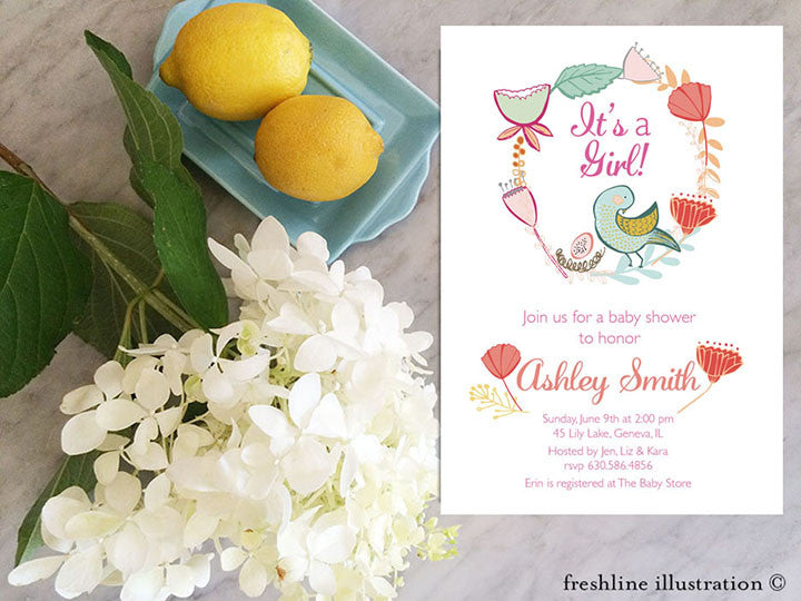 Baby Shower Invitation  Template Printable Baby Shower Invitations - Freshline Illustration