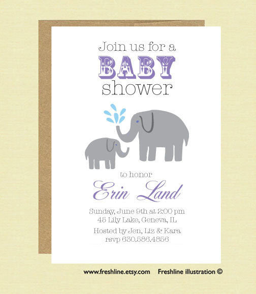 Baby Shower, Elephant Theme - Freshline Illustration