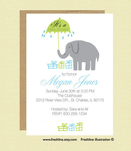 Printable Baby Shower, Elephant Theme