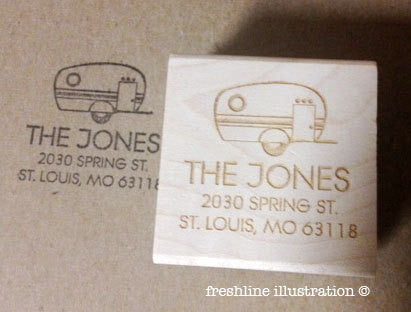 return address stamp, rubber stamp, personalized stamp, camping