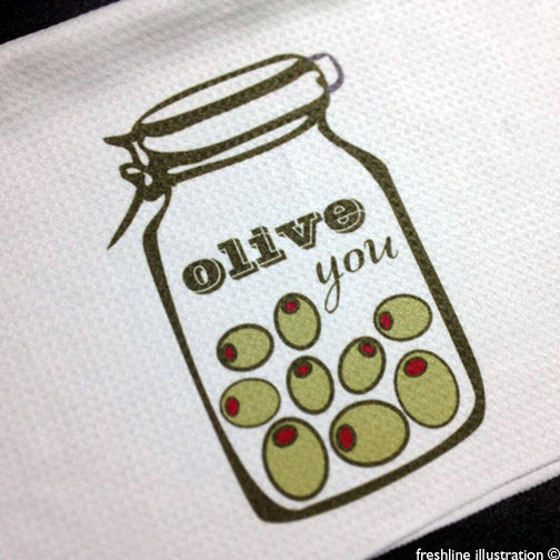 olive you kitchen decor kitchen towel funny kitchen art