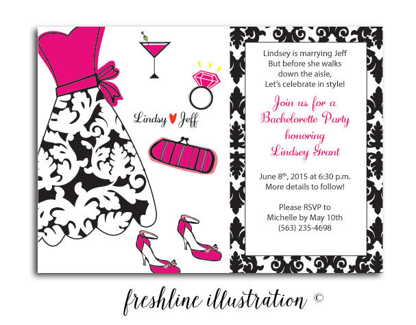 Bachelorette Invitation, Celebrate in Style - Freshline Illustration