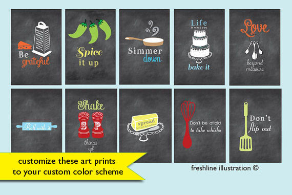 kitchen poster set kitchen print set - Freshline Illustration