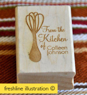 Custom Rubber Stamp - From the Kitchen of Your Name Custom Rubber Stamp - Simple and Cute Stationery Stamp - Freshline Illustration