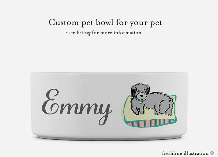 custom pet bowls, custom pet dishes, pet portrait