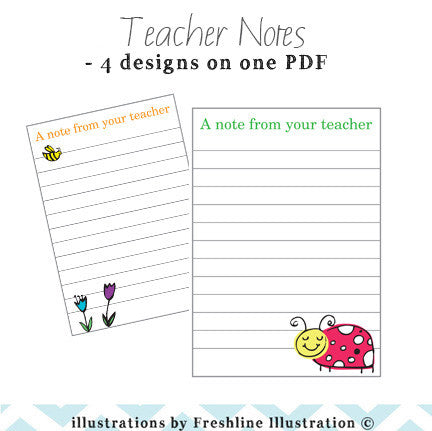 Adorable Ladybug, Bee and Worm Teacher Note Set, A Note from Your Teacher - Freshline Illustration