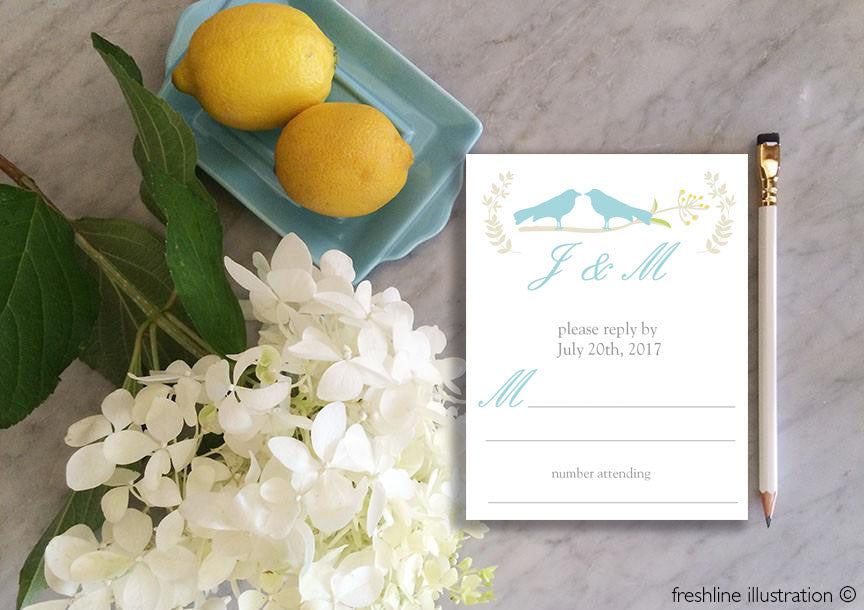 wedding response cards, love birds