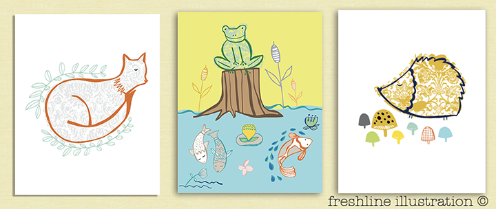 woodland nursery wall art art print set personalized nursery art