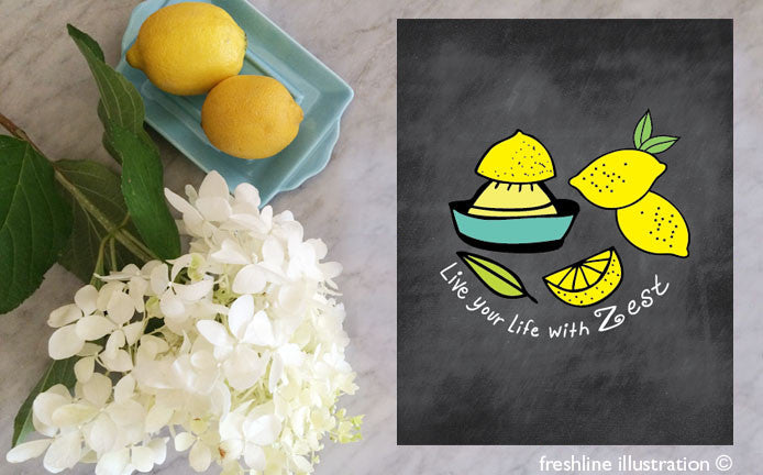 kitchen sign kitchen print lemons - Freshline Illustration