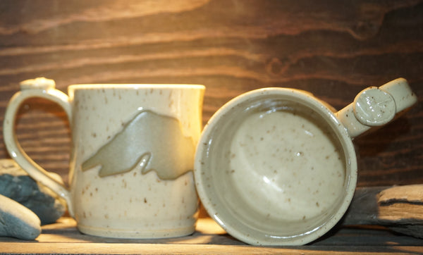 12 oz Speckled Buff Lake Superior mugs - Green Cabin Pottery
