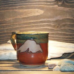 12 oz Mug in Randy's Red and Licorice glaze - Green Cabin Pottery