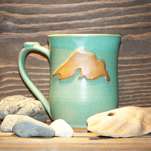 16 oz Lake Superior Weathered Bronze mug - Green Cabin Pottery