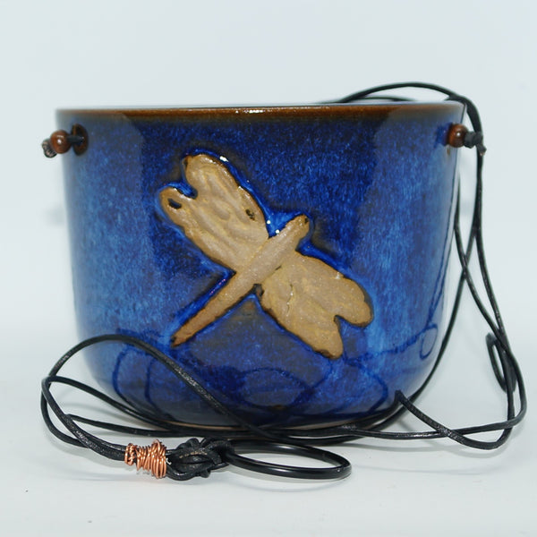 Blue hanging dragonfly planter - Green Cabin Pottery