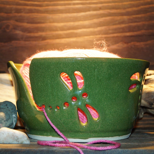 Green Dragonfly Carved Yarn Bowl