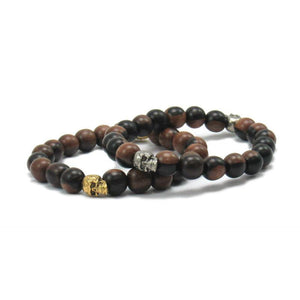 Robles Wood Stretch Bracelet with Metal Skull Beads