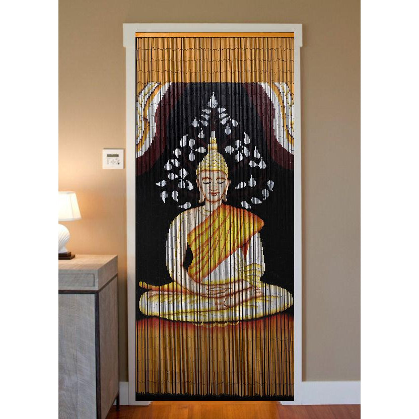 Bamboo Beaded Curtain Hand Painted-Buddha