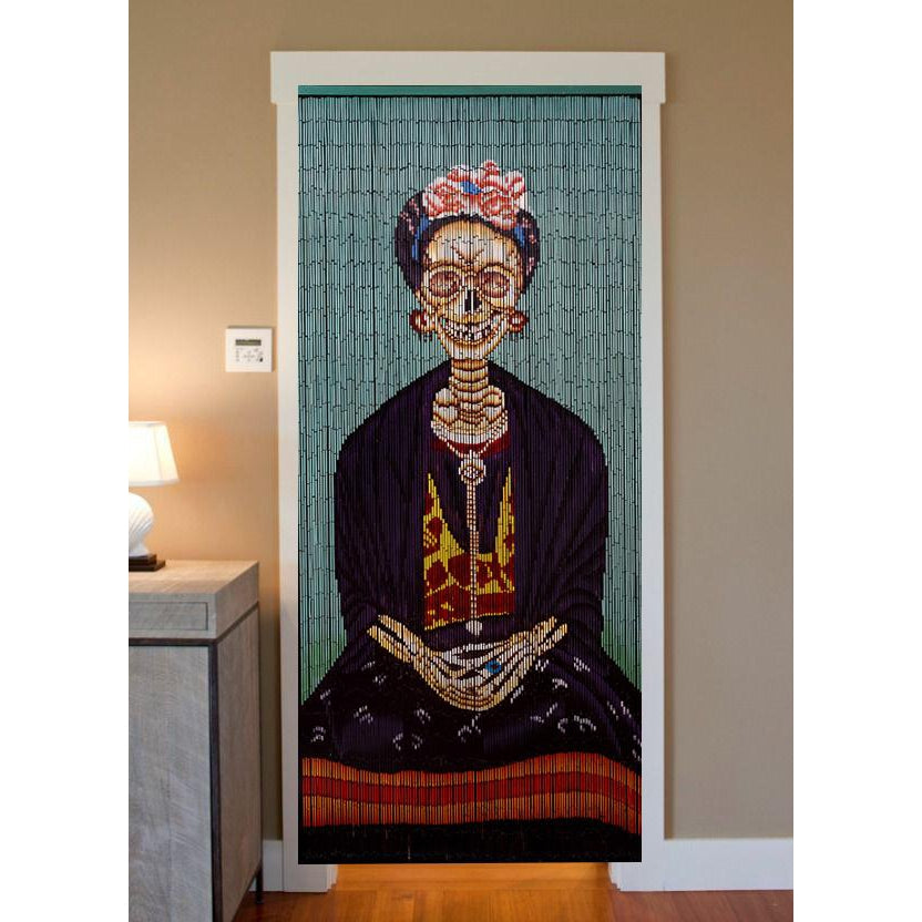 Bamboo Beaded Curtain Hand Painted-Frida (The Day of The Dead)