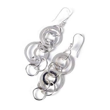 Sterling Silver Circle Link Earrings