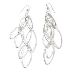Sterling Silver Oval Drop Earrings