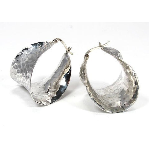 Hand Hammered Flat Hoop Sterling Silver Earrings