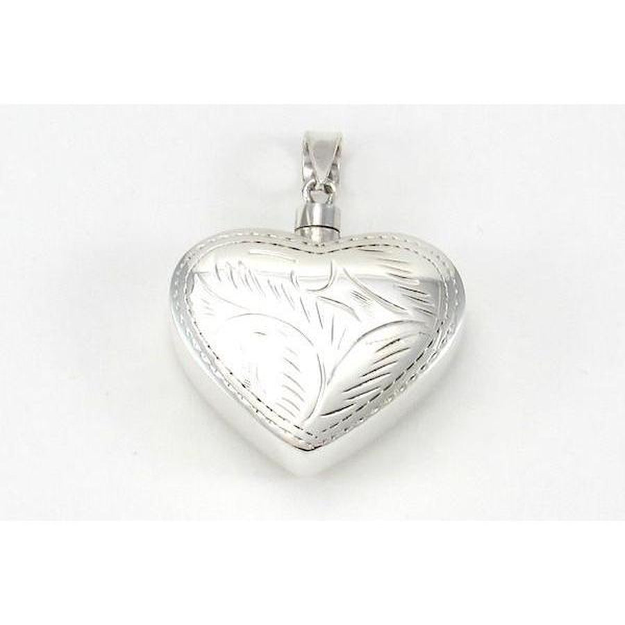 Sterling Silver Etched Heart Locket Pendant