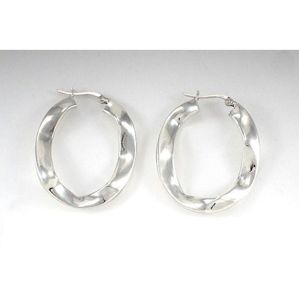Sterling Silver Flat Ruffle 40mm Oval Hoop Earrings