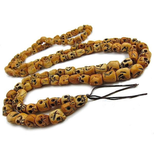 Hand Carved Cow Bone Skull Mala