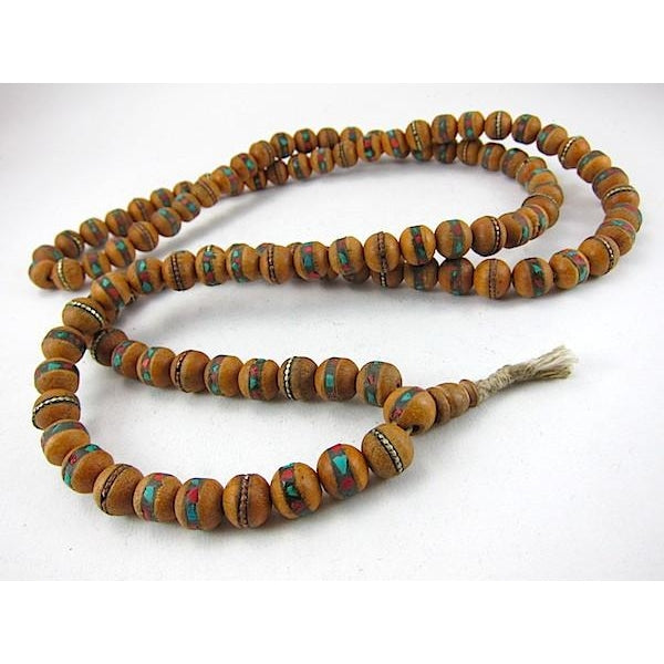 Tibetan Inlaid Hand Tulsi Wood Mala 12mm
