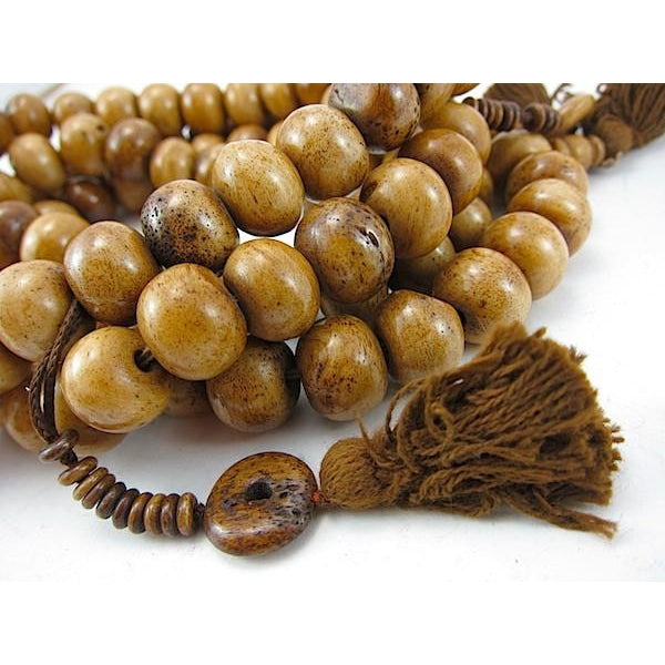 Tea Stained Tibetan Cow Bone Mala 14mm x 11mm