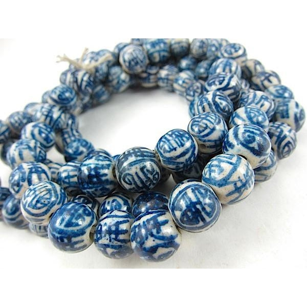 Double Happiness Blue/White Ceramic Bead Strand
