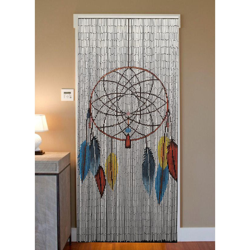 Bamboo Beaded Curtain Hand Painted - Dreamcatcher