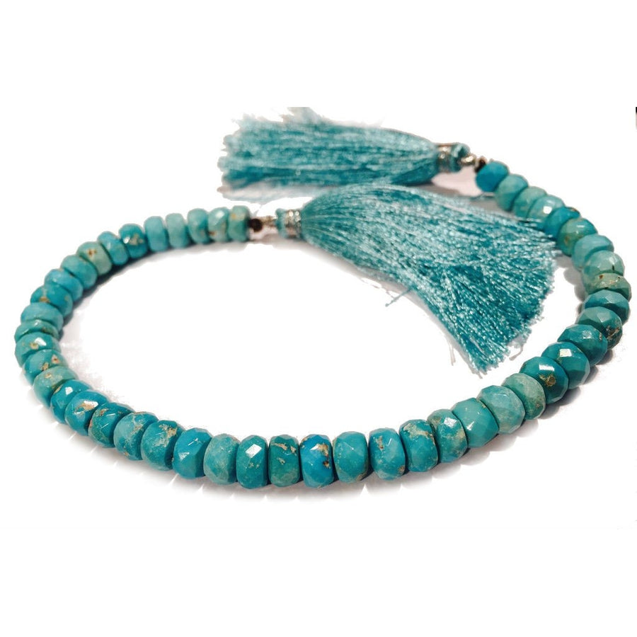 Arizona Sleeping Beauty Natural Turquoise Faceted Rondelles 6-7mm Strand