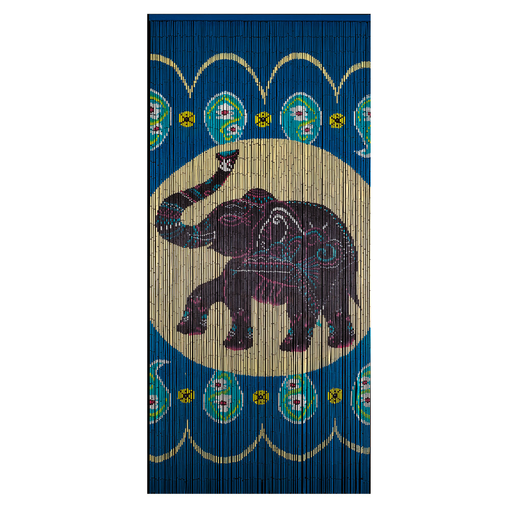 Bamboo Beaded Curtain Hand Painted - Elephant