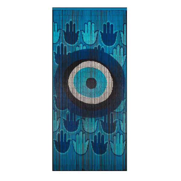Bamboo Beaded Curtain Hand Painted - Evil Eye