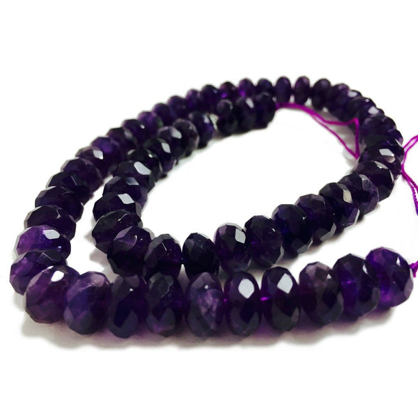 Amethyst Faceted Rondelles 10mm Strand