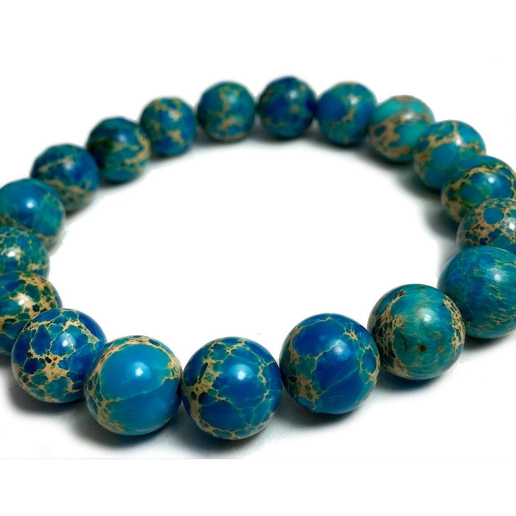 Aqua Blue Tinted Creek Jasper 10mm Rounds Stretch Bracelet