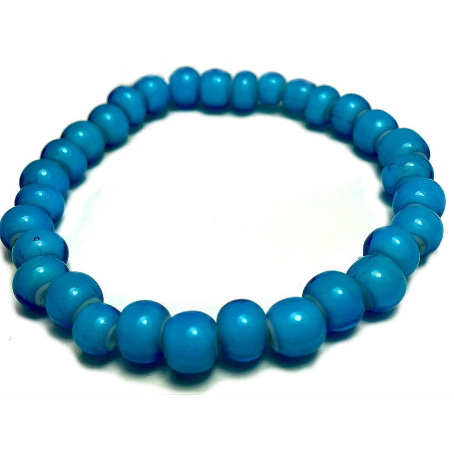 Aqua Blue Venetian White Hearts 6mm Beads Stretch Bracelet