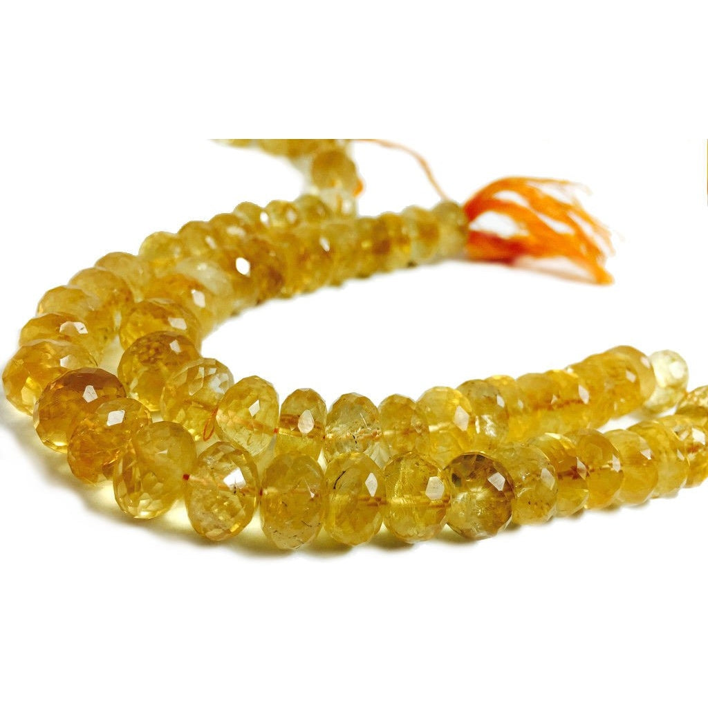 Citrine Hand Faceted 12mm Rondelles Strand