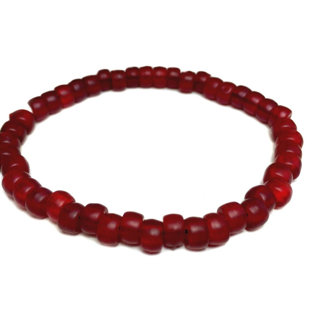 Czech Red Crow Bead 6mm Stretch Bracelet