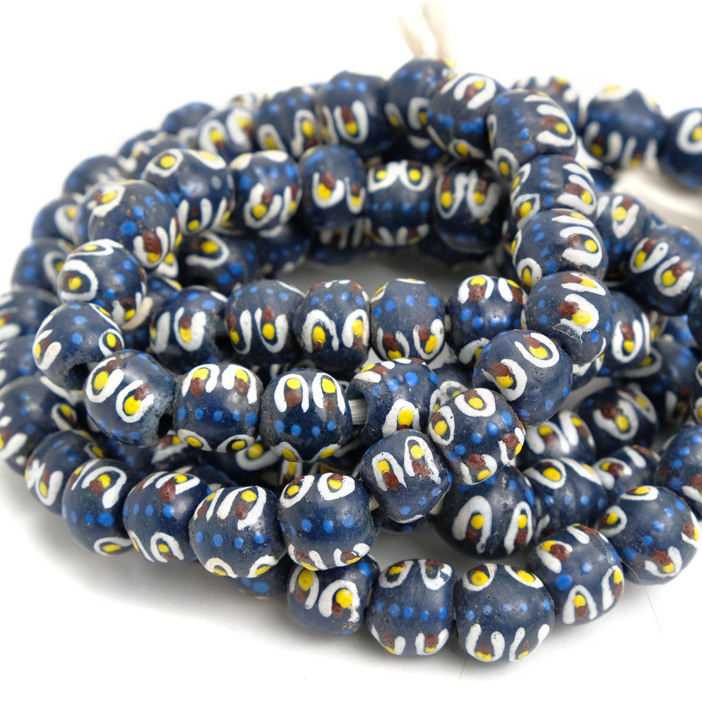 African Eye Beads Recycled Glass Strand #5