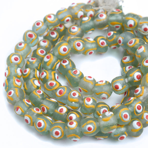 Eye Beads Recycled Glass Strand #9