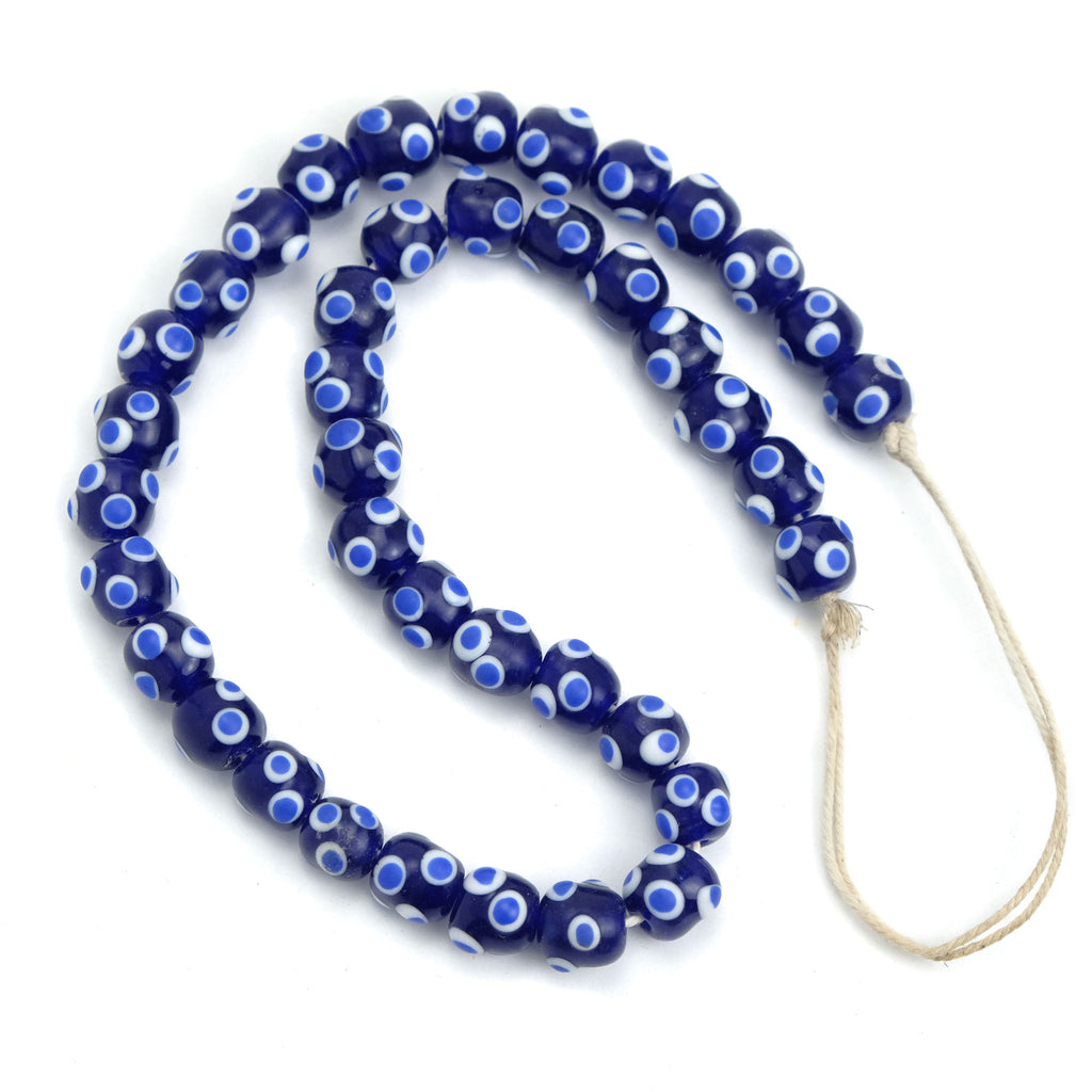 Eye Beads Recycled Glass Strand #10