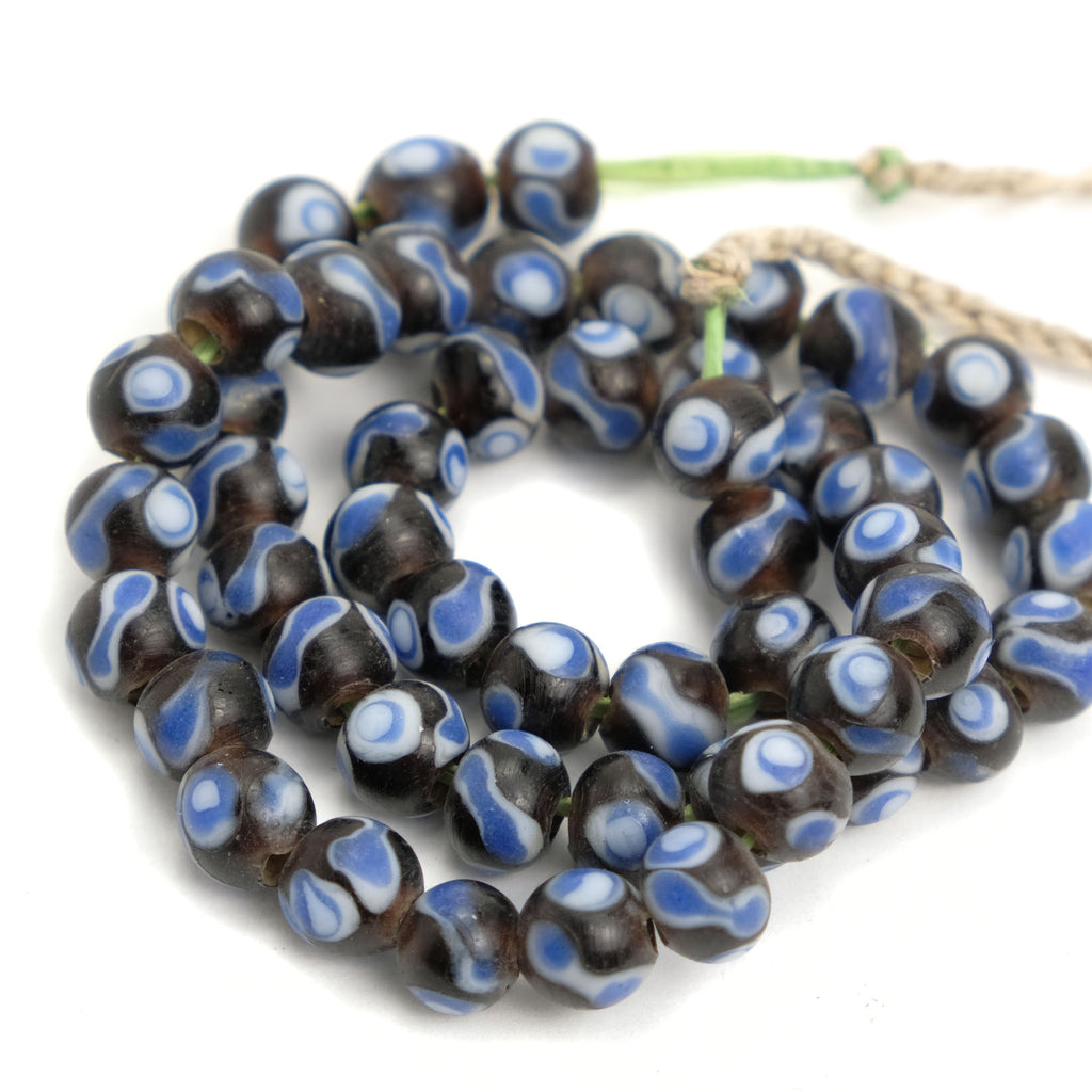 Eye Beads Recycled Glass Strand #13