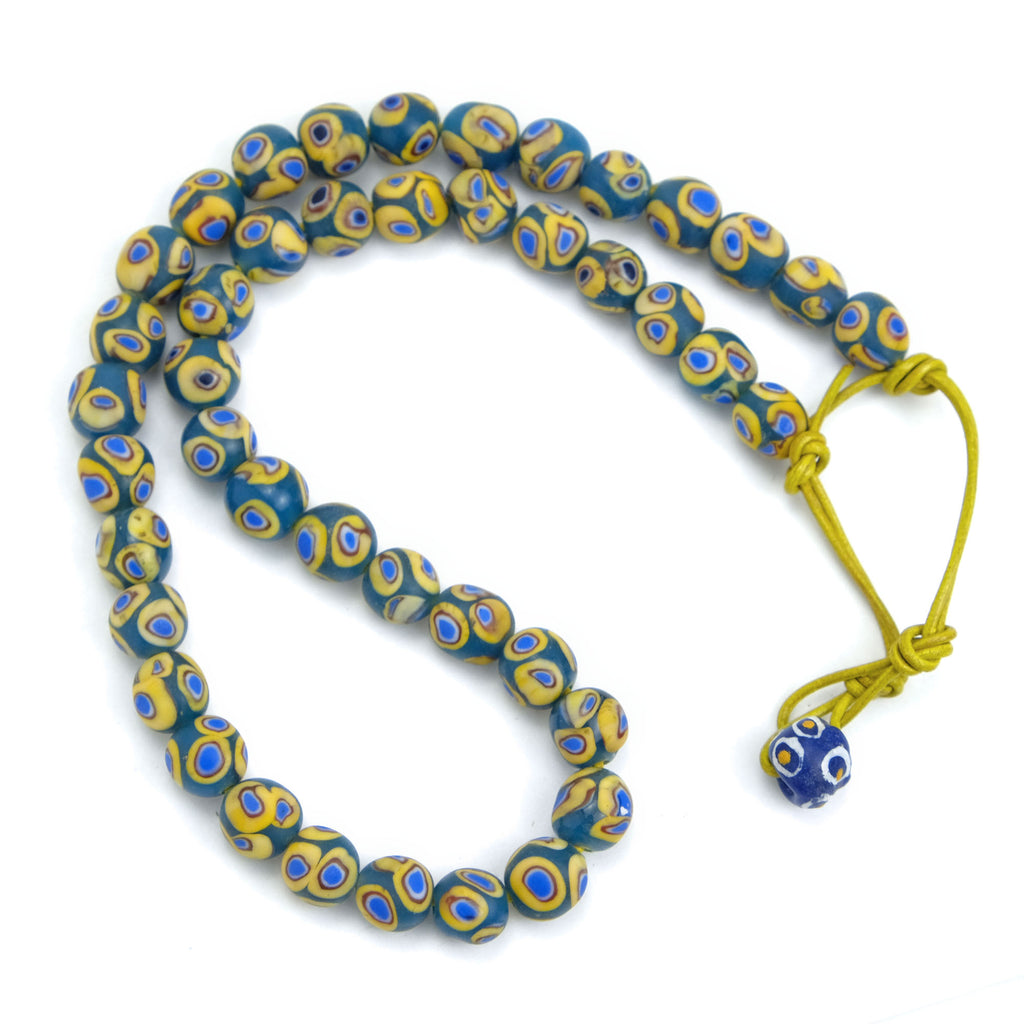 Eye Beads Recycled Glass Strand #16