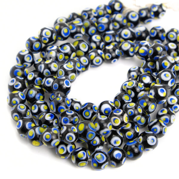 Eye Beads Recycled Glass Strand #17