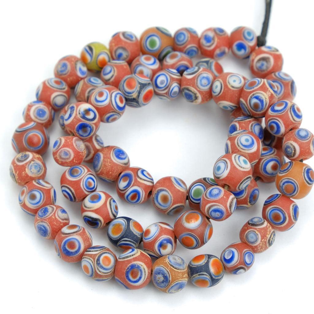 Eye Beads Recycled Glass Strand #23