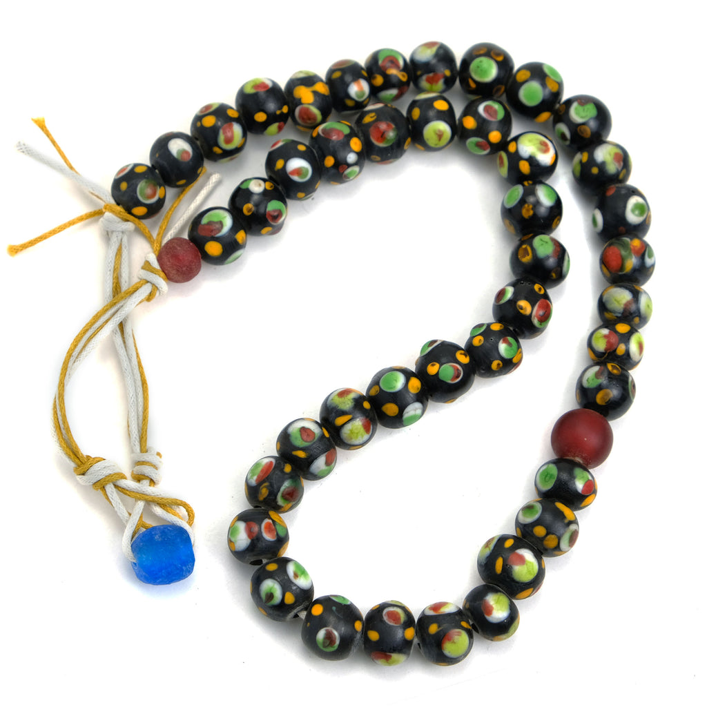 Eye Beads Recycled Glass Strand #31