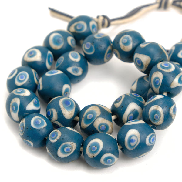 Eye Beads Large Recycled Glass Strand #33